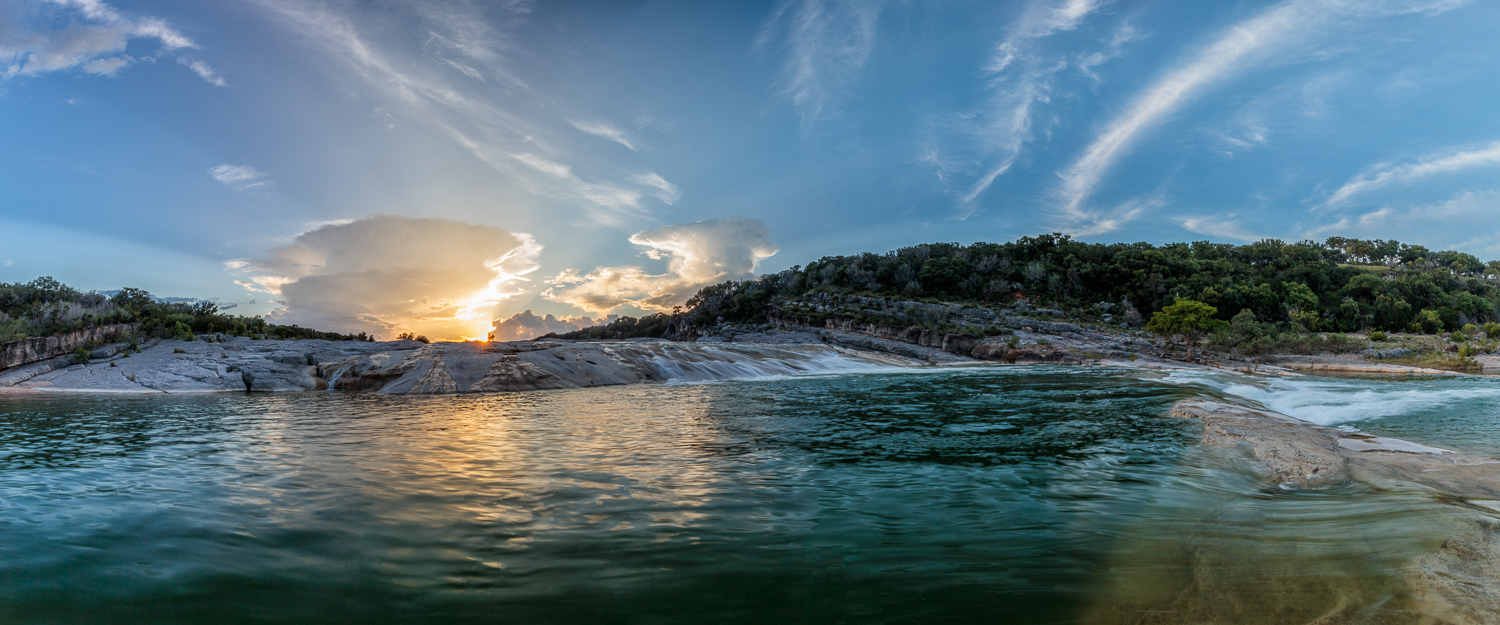 Pedernales Falls Sunset Panorama
