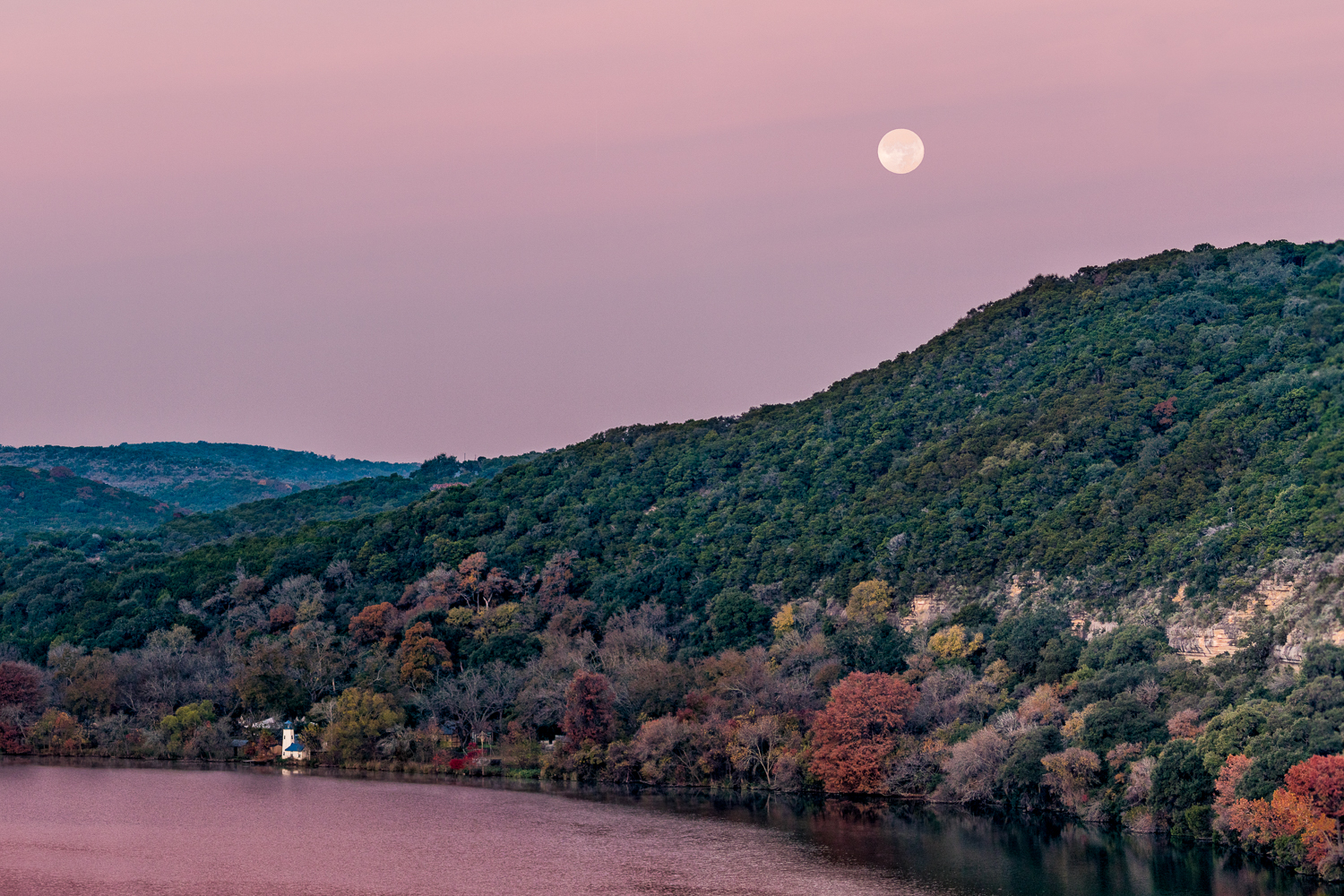 Fall Sunrise Moonset