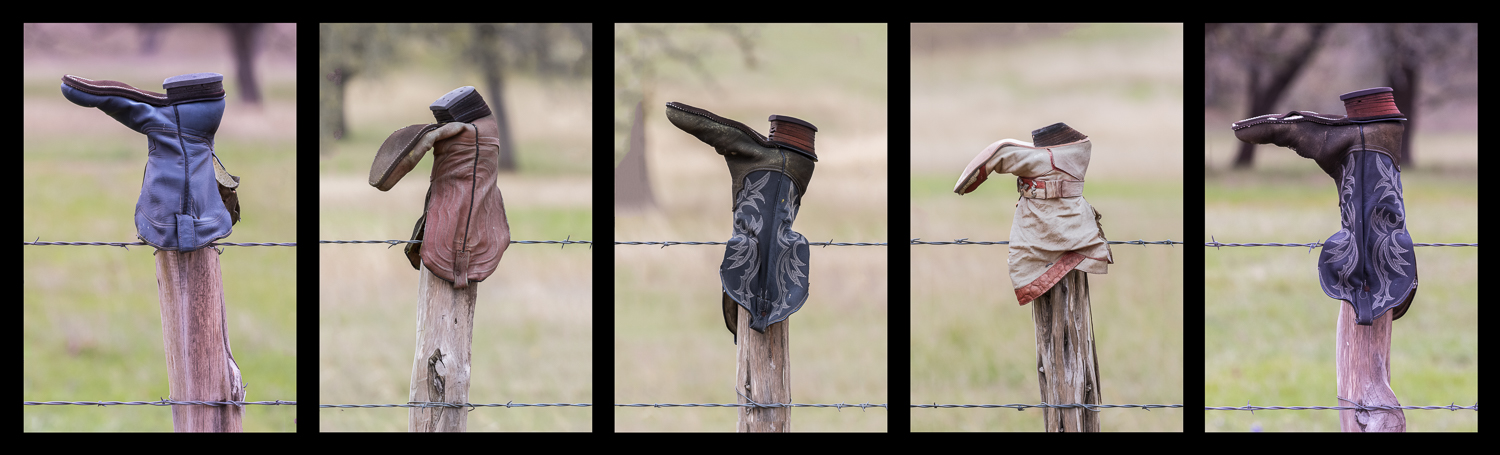 Boots on Fence Posts